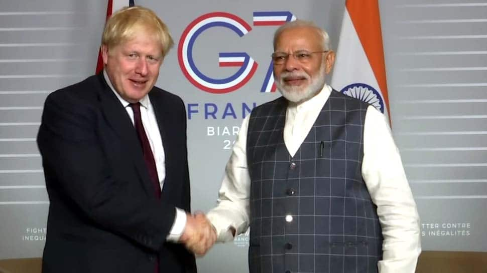 PM Narendra Modi meets British counterpart Boris Johnson on sidelines of G7 summit in France