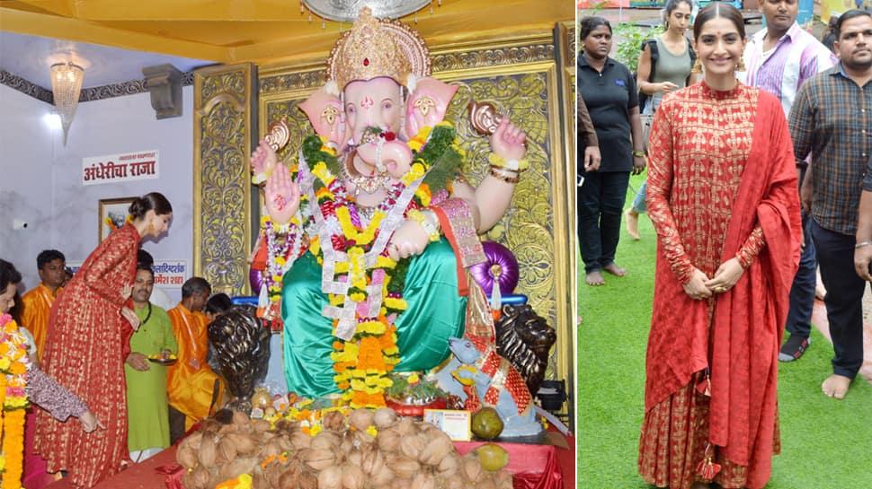Sonam Kapoor visits Andhericha Raja for Bappa's darshan - Photos