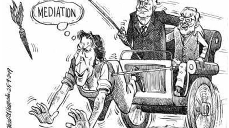 Imran Khan pulls cart for Kashmir mediation carrot as Donald Trump and Narendra Modi laugh: Pakistani daily publishes cartoon, then apologises