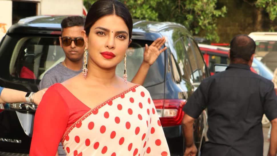 Priyanka Chopra flaunts her desi swag wearing a polka-dot saree—Pics