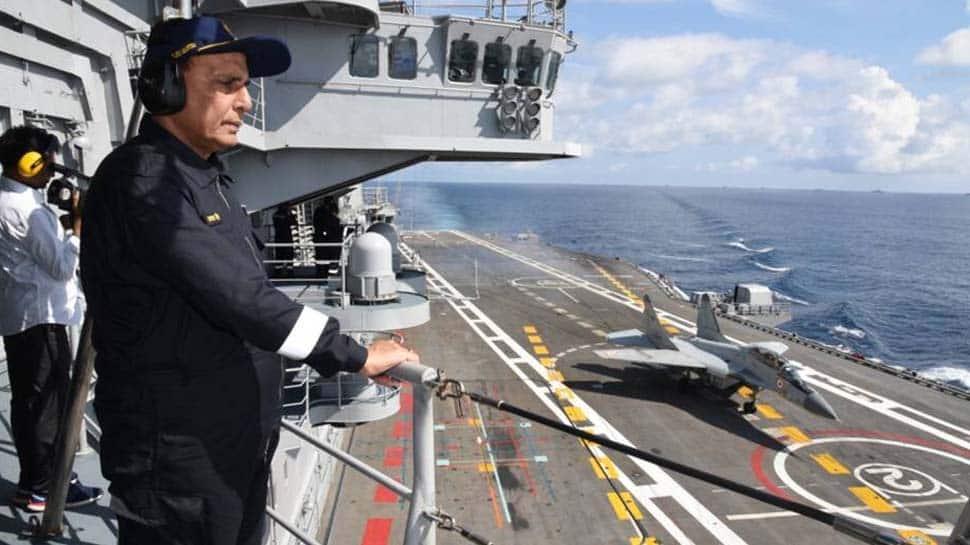 Defence Minister Rajnath Singh shares video of him singing INS Vikramaditya anthem