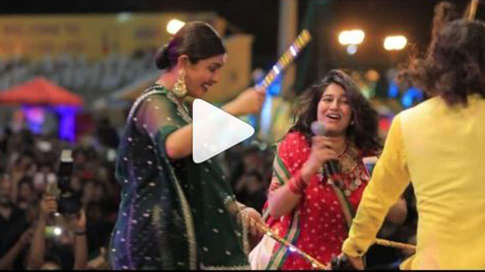 Priyanka Chopra performs dandiya with co-star Rohit Saraf in Ahmedabad-Watch