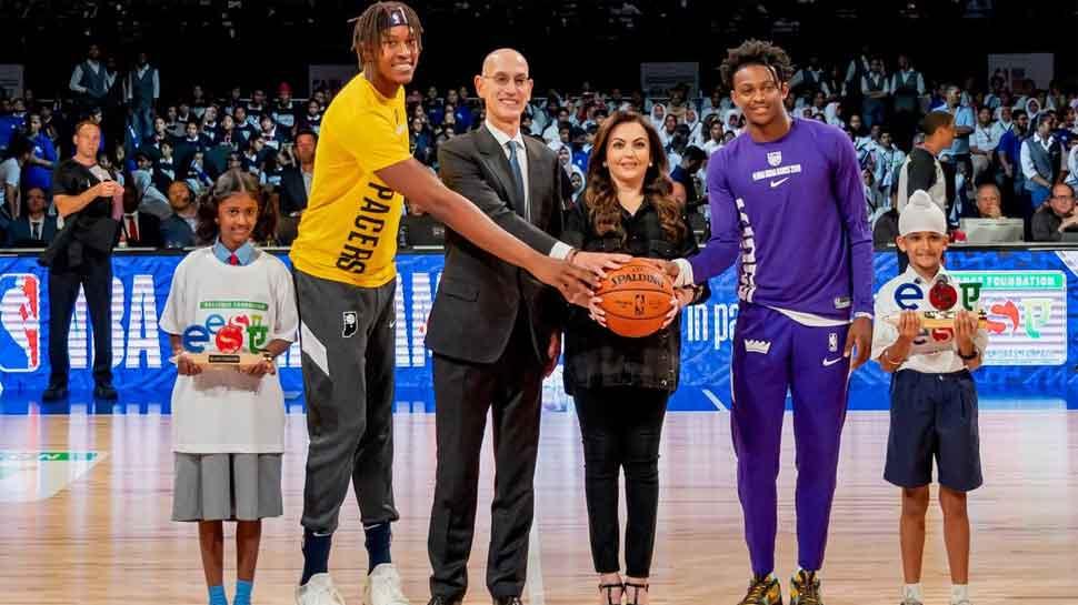 Nita Ambani presents ceremonial 'Match Ball' at first-ever NBA game in India
