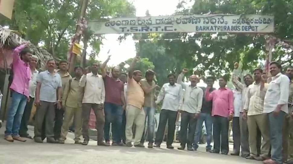 Buses go off in Telangana as TSRTC strike begins