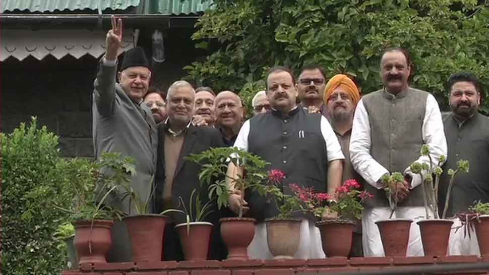 NC delegation meets former J&K CM Farooq Abdullah at his Srinagar residence