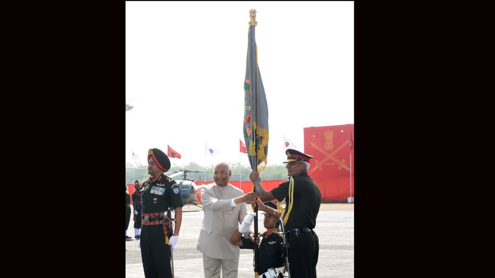President Ram Nath Kovind presents colour to Army Aviation Corps