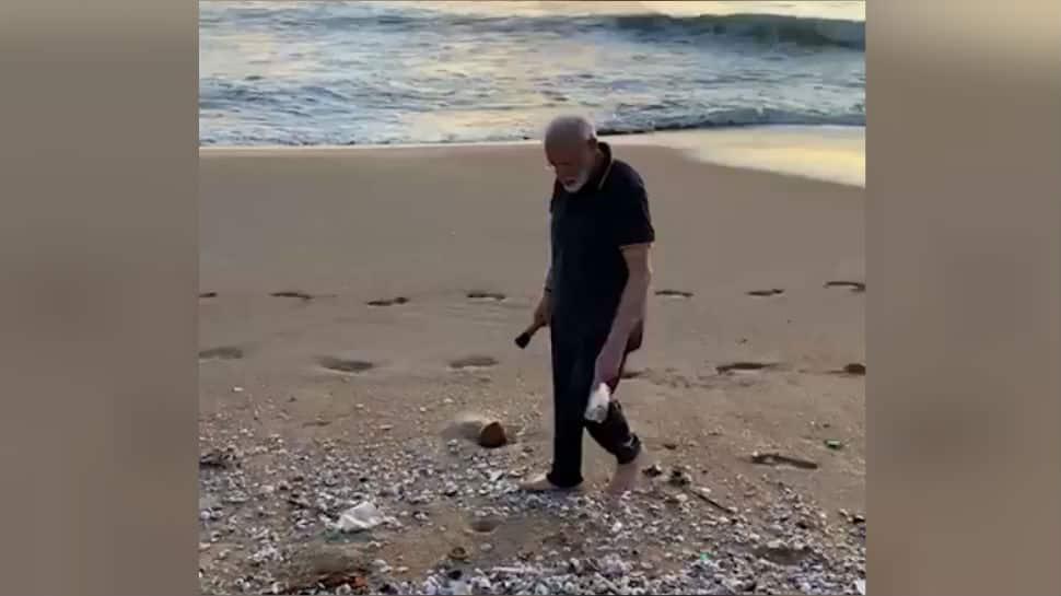 Modi-Xi summit: PM begins Day 2 in Mamallapuram by plogging at beach