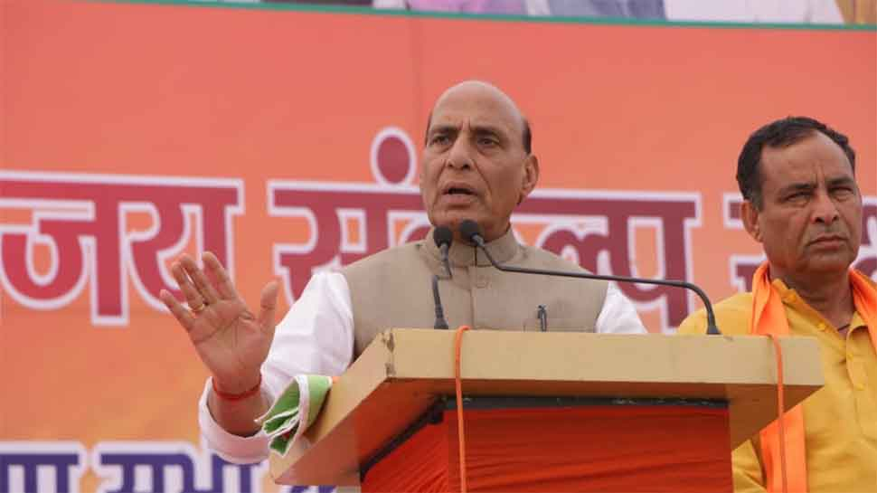 Congress statements strengthen Pakistan: Rajnath Singh on Rafale Shastra pooja row
