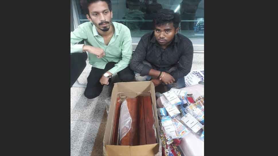 Two passengers apprehended at Delhi airport for carrying 43 kg red sandalwood