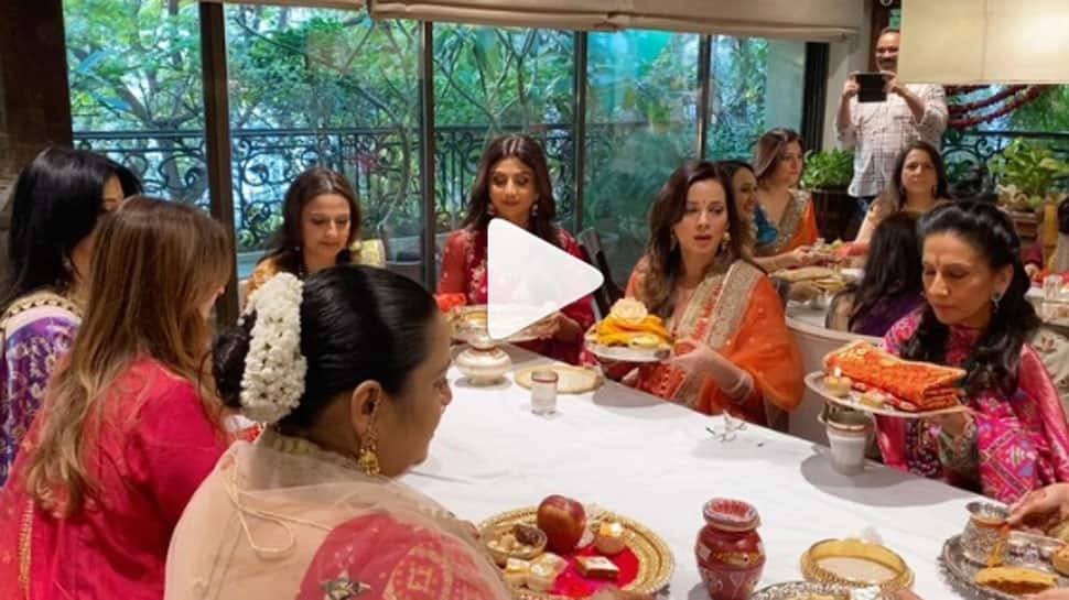 Shilpa Shetty, Raveena Tandon and others celebrate Karwa Chauth at Sunita Kapoor's residence—Watch