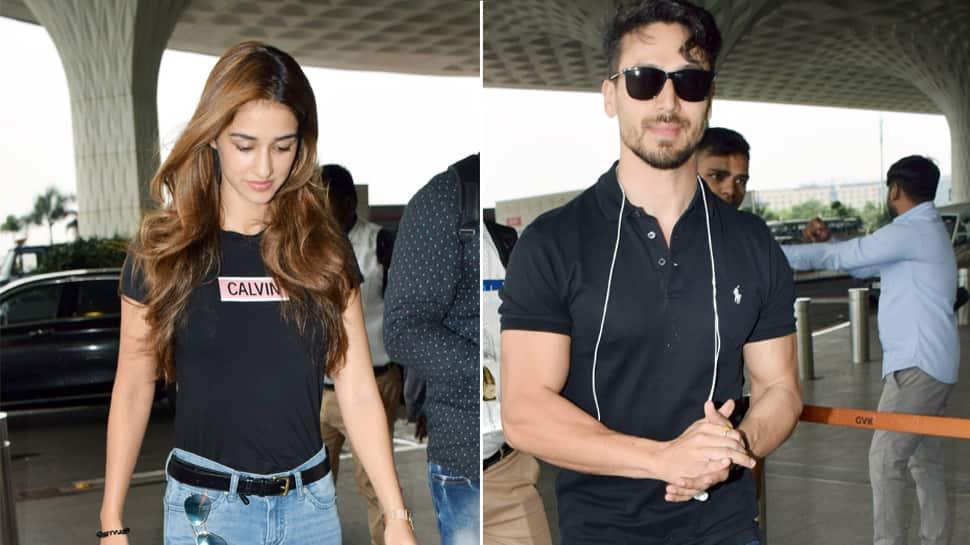 Disha Patani, Tiger Shroff twin in black at the airport—Pics