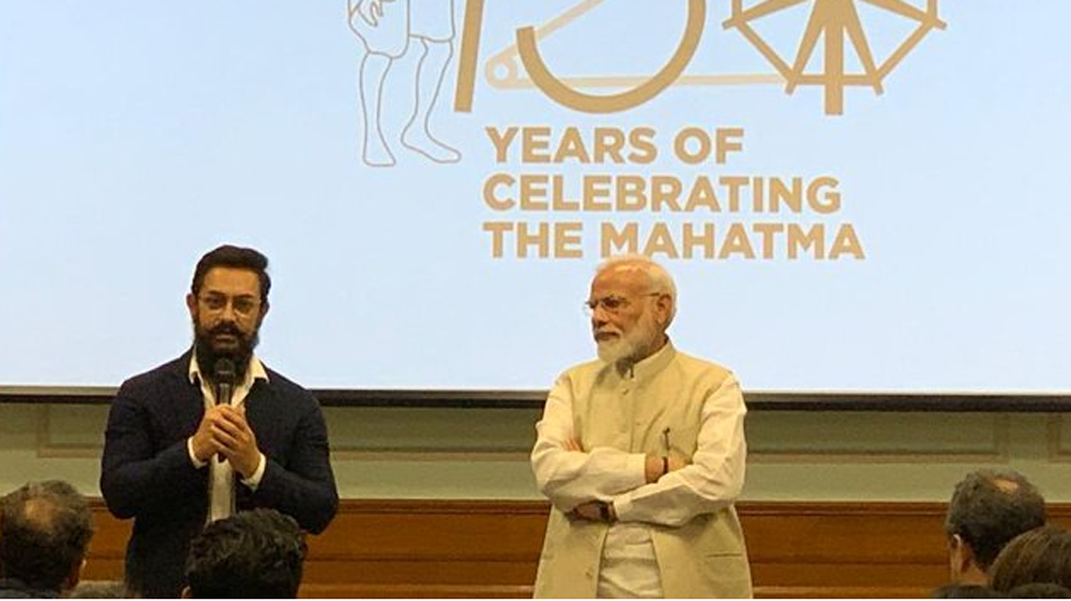 PM Narendra Modi meets Shah Rukh Khan, Aamir Khan and others at an event celebrating 150 years of Mahatma Gandhi