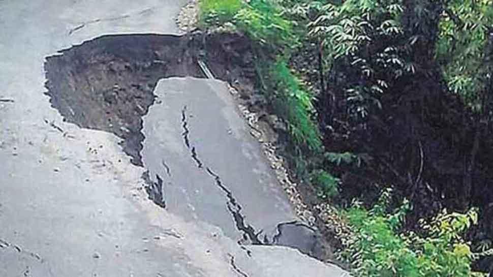 Five injured after car gets damaged by landslide in Visakhapatnam
