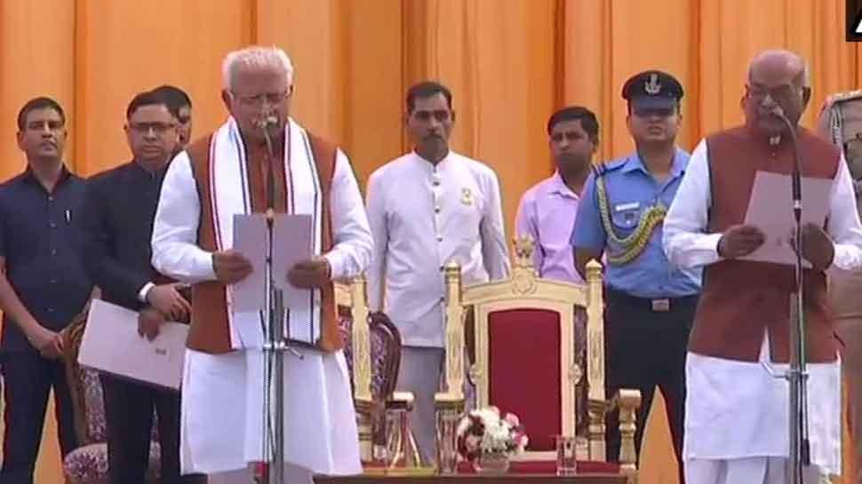 Manohar Lal Khattar takes oath as Haryana CM for second term, Dushyant Chautala sworn in as Deputy CM