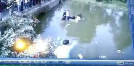 Watch: Car carrying 5 people loses balance in bid to avoid accident, falls into river in Madhya Pradesh's Orcha