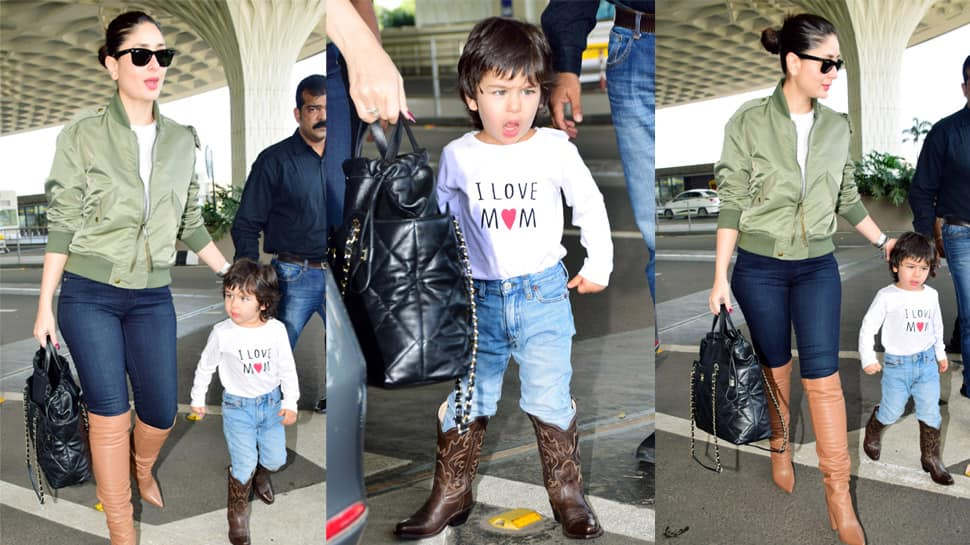 Taimur and mommy Kareena Kapoor Khan flaunt their love for boots at the airport—Photos
