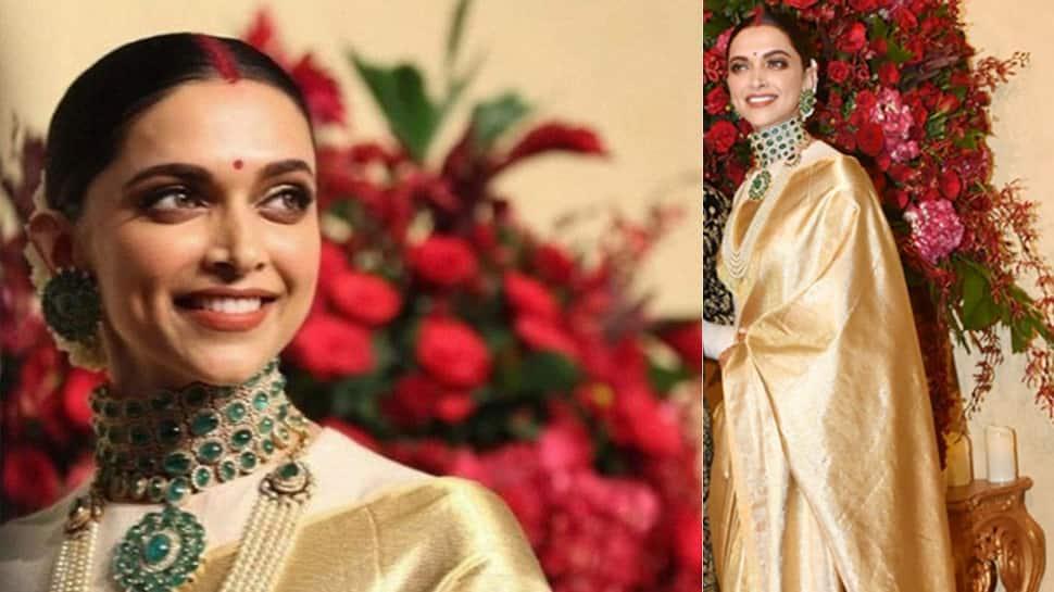Deepika Padukone stuns in golden saree at friend's wedding ...