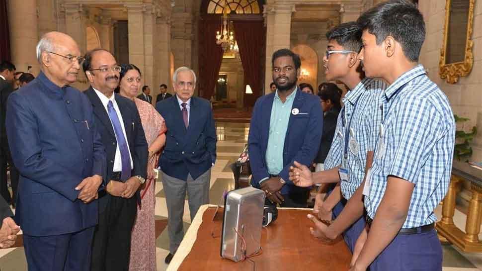 Govt school students showcase biometric EVM concept to President Ram Nath Kovind