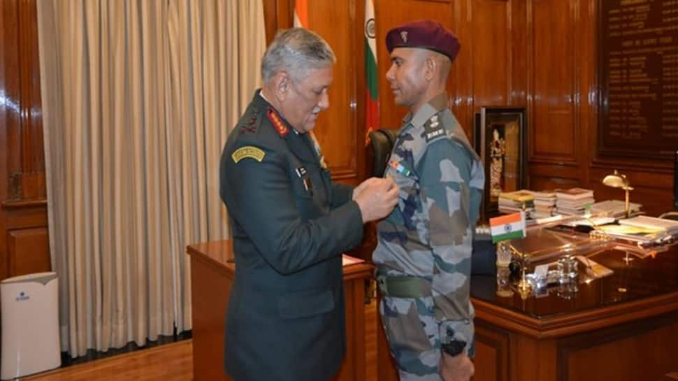 Swaroop Singh Kuntal awarded Chief of Army Staff Commendation Card by Army Chief General Bipin Rawat