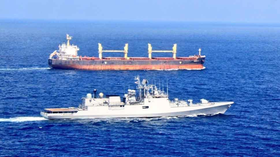 Indian Navy Ship Trikand escorts UN merchant ship transporting relief material to Kenya