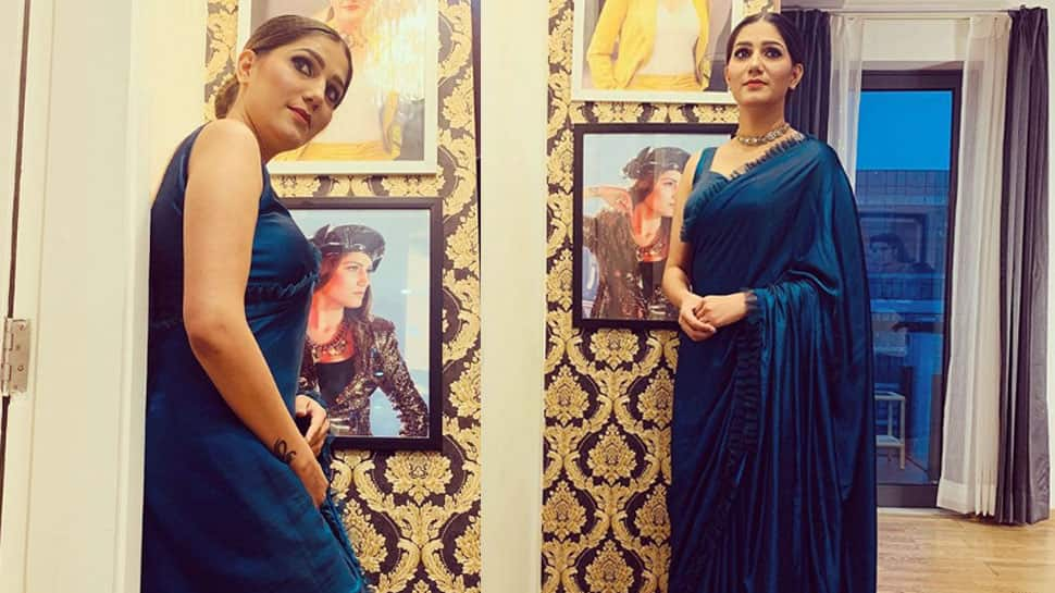 Sapna Choudhary poses in a frill saree, shows off her desi queen swag