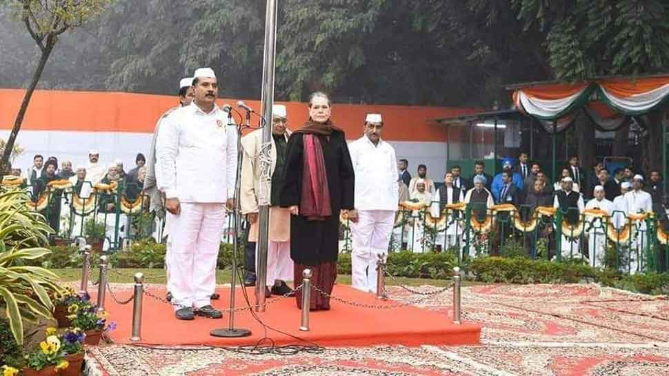 Congress Foundation Day: Sonia Gandhi hoists tricolor at AICC office