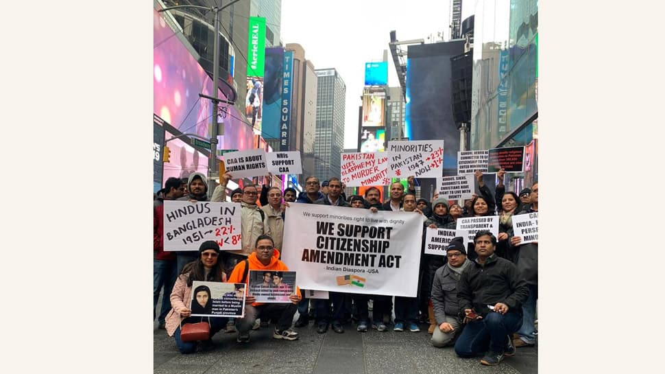 Indian-Americans hold demonstration at Times Square in US in support of Citizenship Amendment Act