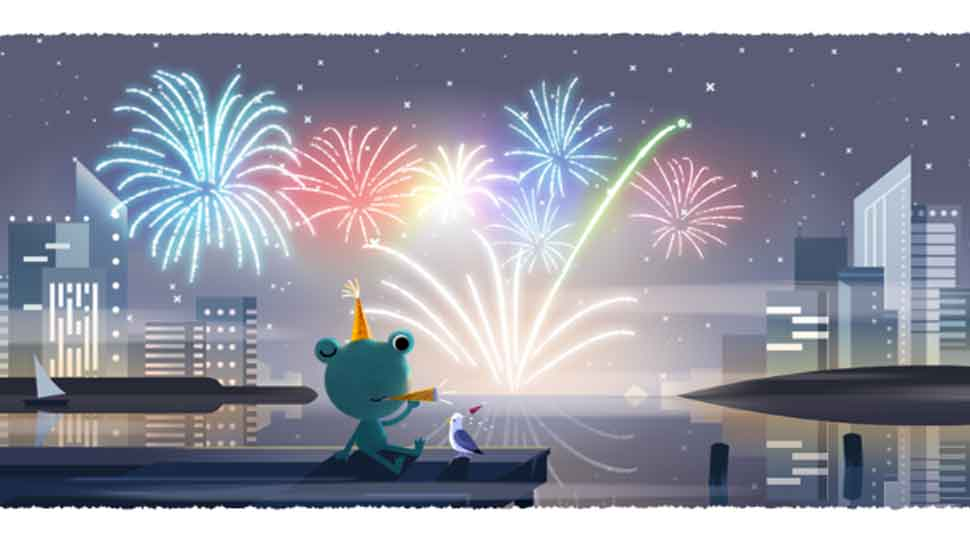 Google doodle welcomes new year with the weather frog and fireworks