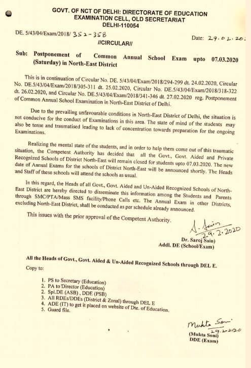 Circular for schools in Delhi