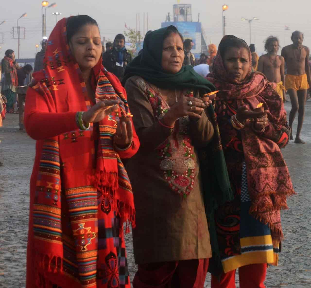 Devotees offering prayer to God