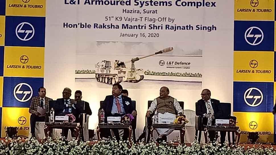 Rajnath Singh flags off 51st K-9 Vajra, self-propelled howitzer, at Surat gun-making facility