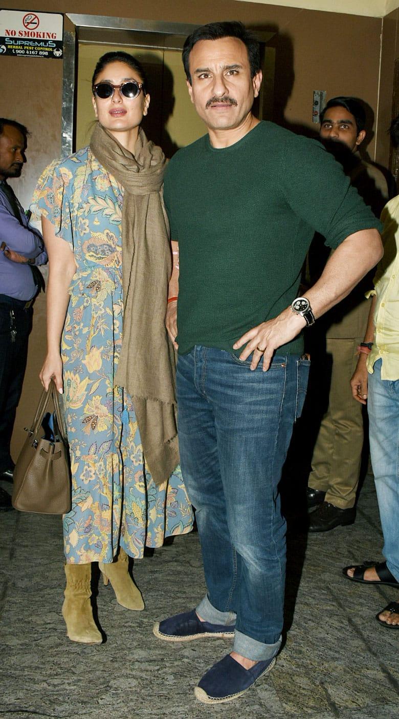 Saif Ali Khan and Kareena pose for shutterbugs