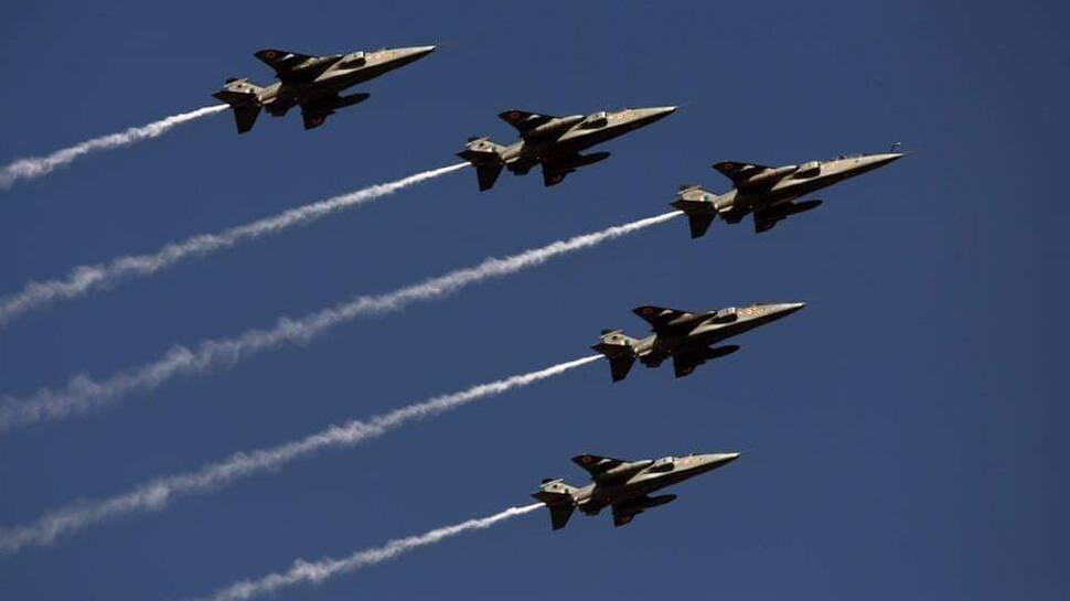 IAF Jaguar aircraft flypast during air show in Rajpath