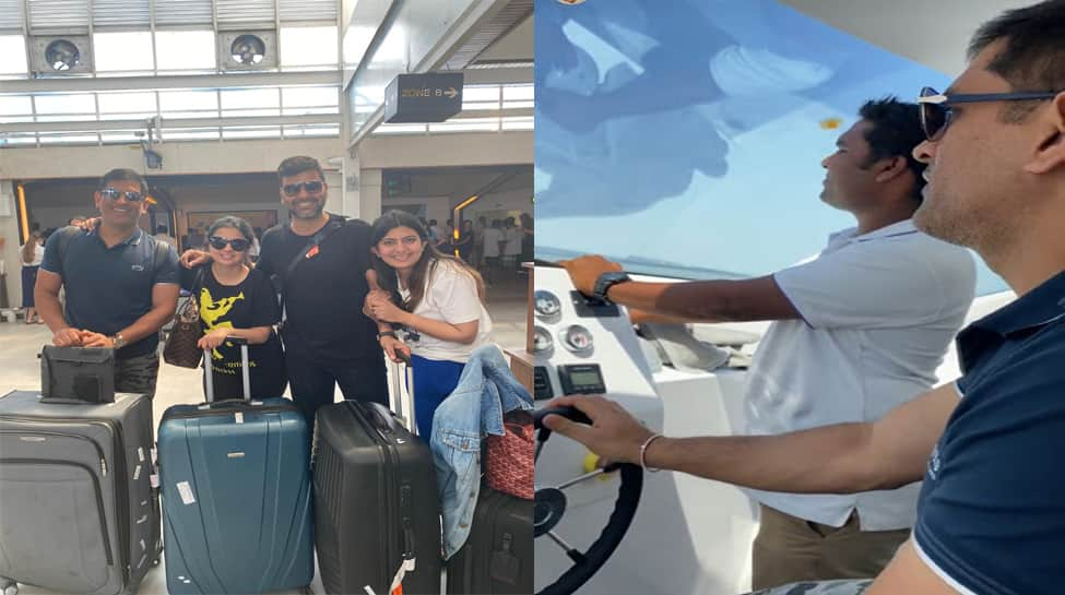 MS Dhoni enjoys vacation in Maldives, drives speedboat--Watch Video