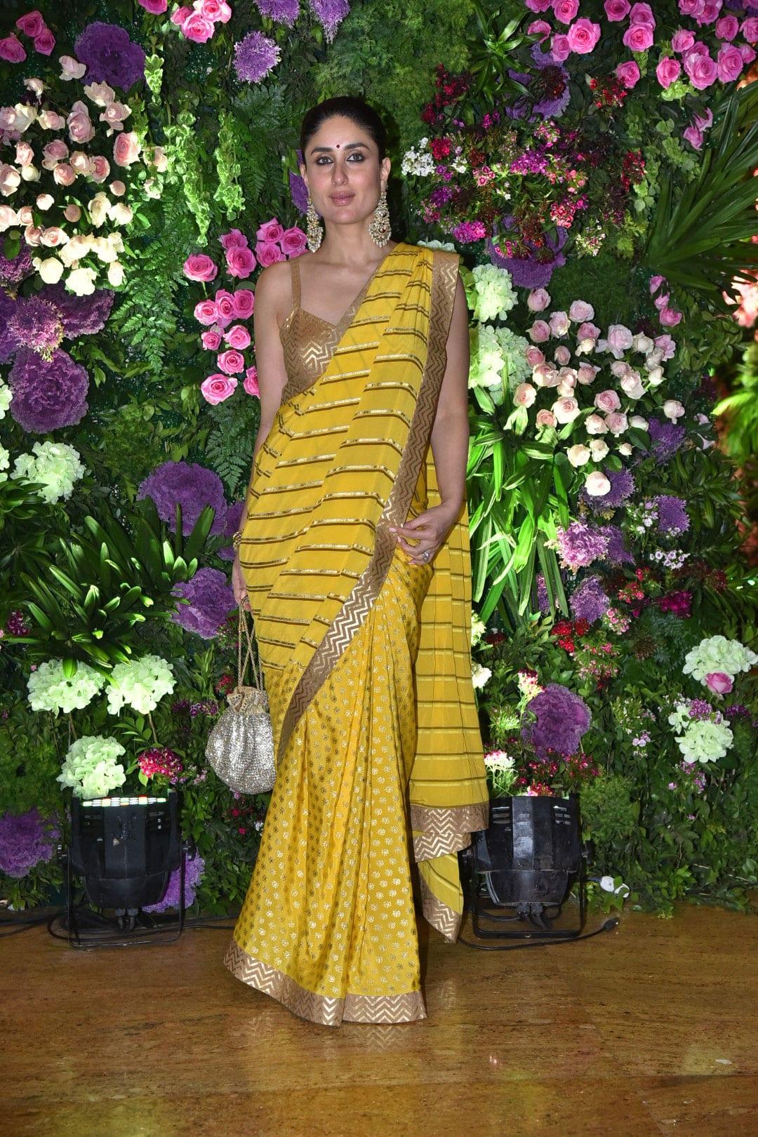 Kareena Kapoor looks stunning in a yellow saree
