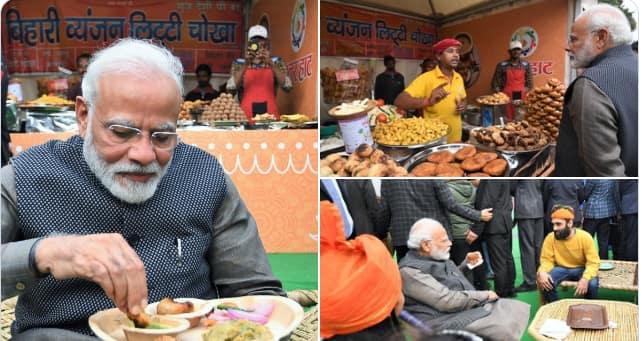 PM Modi relishes 'Litti Chokha', 'kulhad' tea at Delhi's 'Hunar Haat'