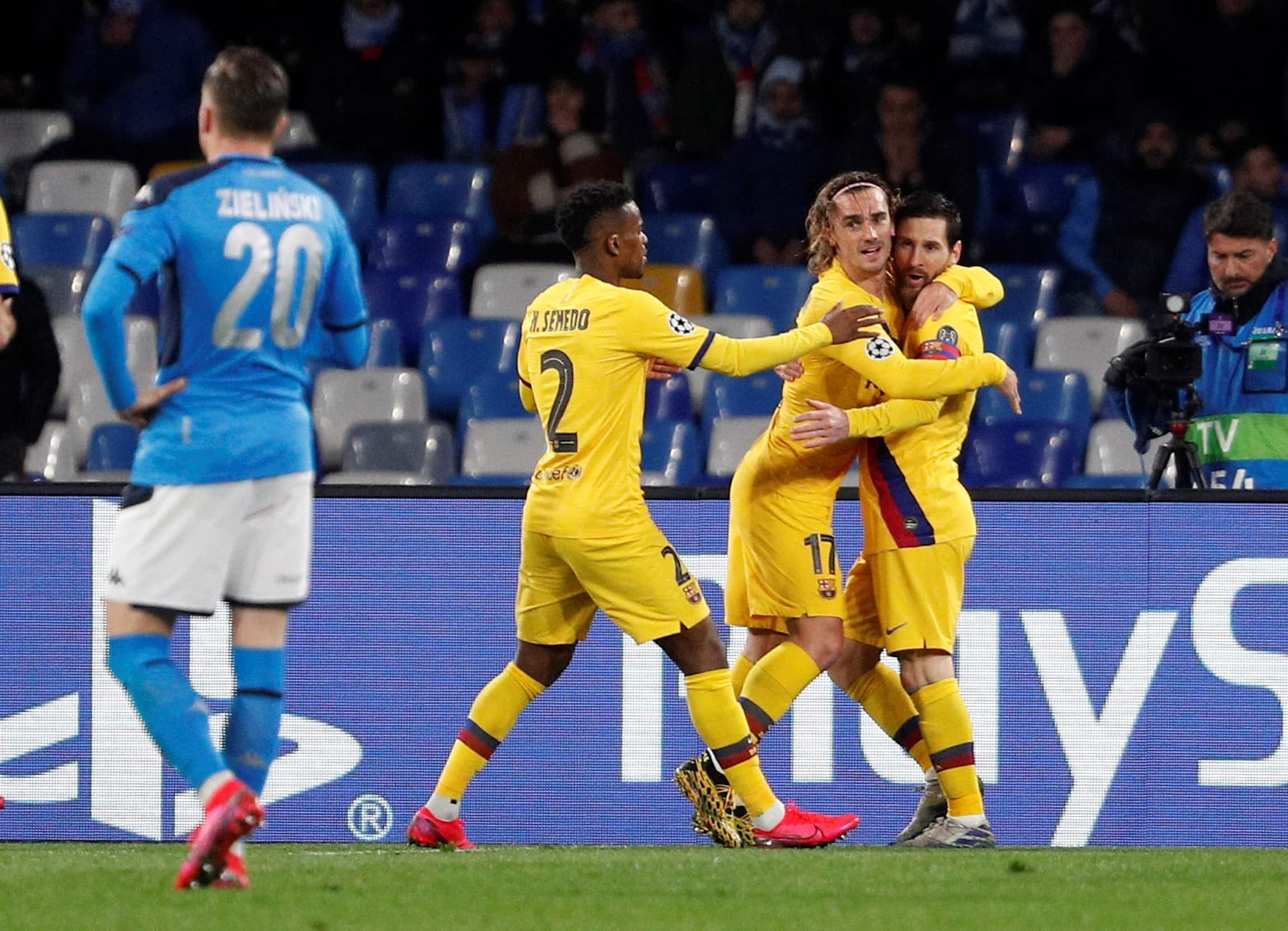 Barcelona draw 1-1 Napoli in Champions League last-16 tie, Antoine Griezmann and Dries Mertens scorers