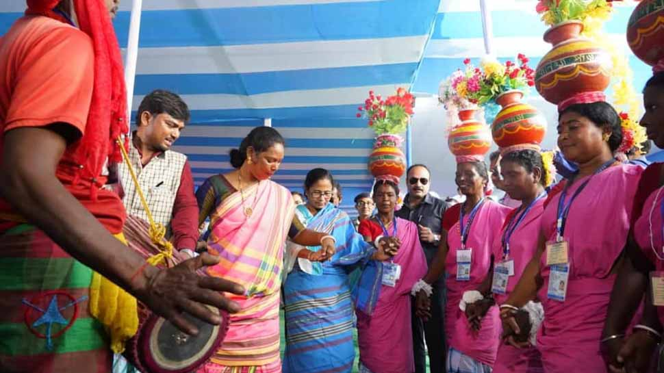 West Bengal Chief Minister Mamata Banerjee spotted dancing at mass marriage ceremony of tribal girls