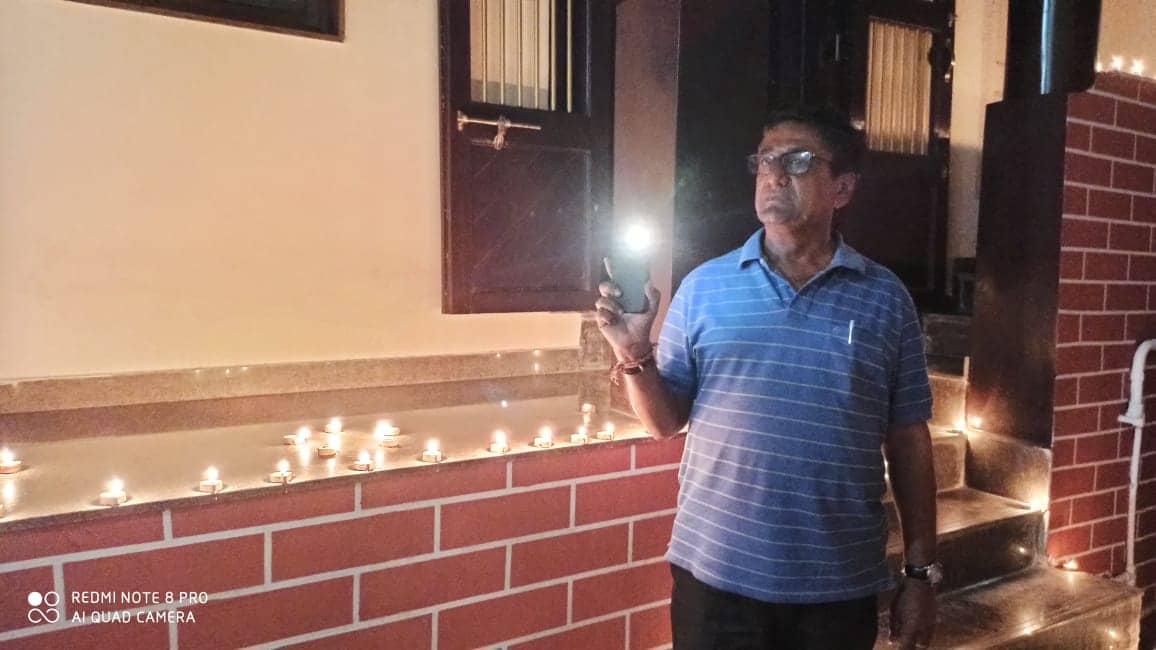 Man with flash light