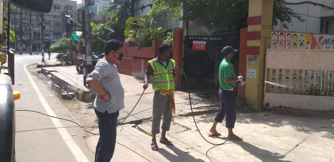 Public places getting sanitized in Patna