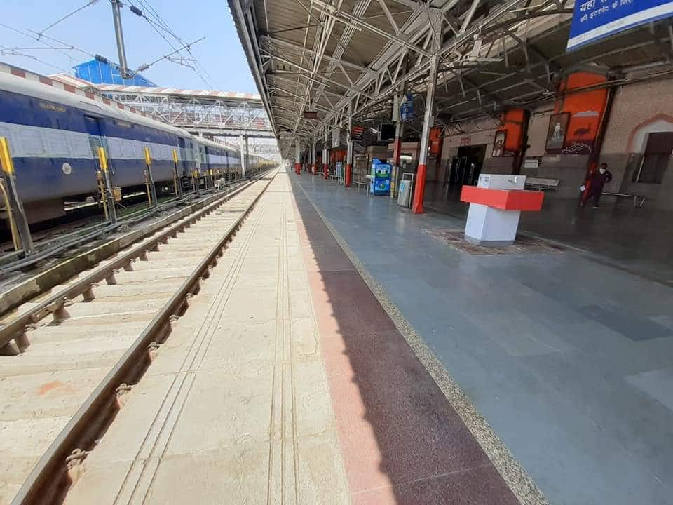 Railway station wears a deserted look
