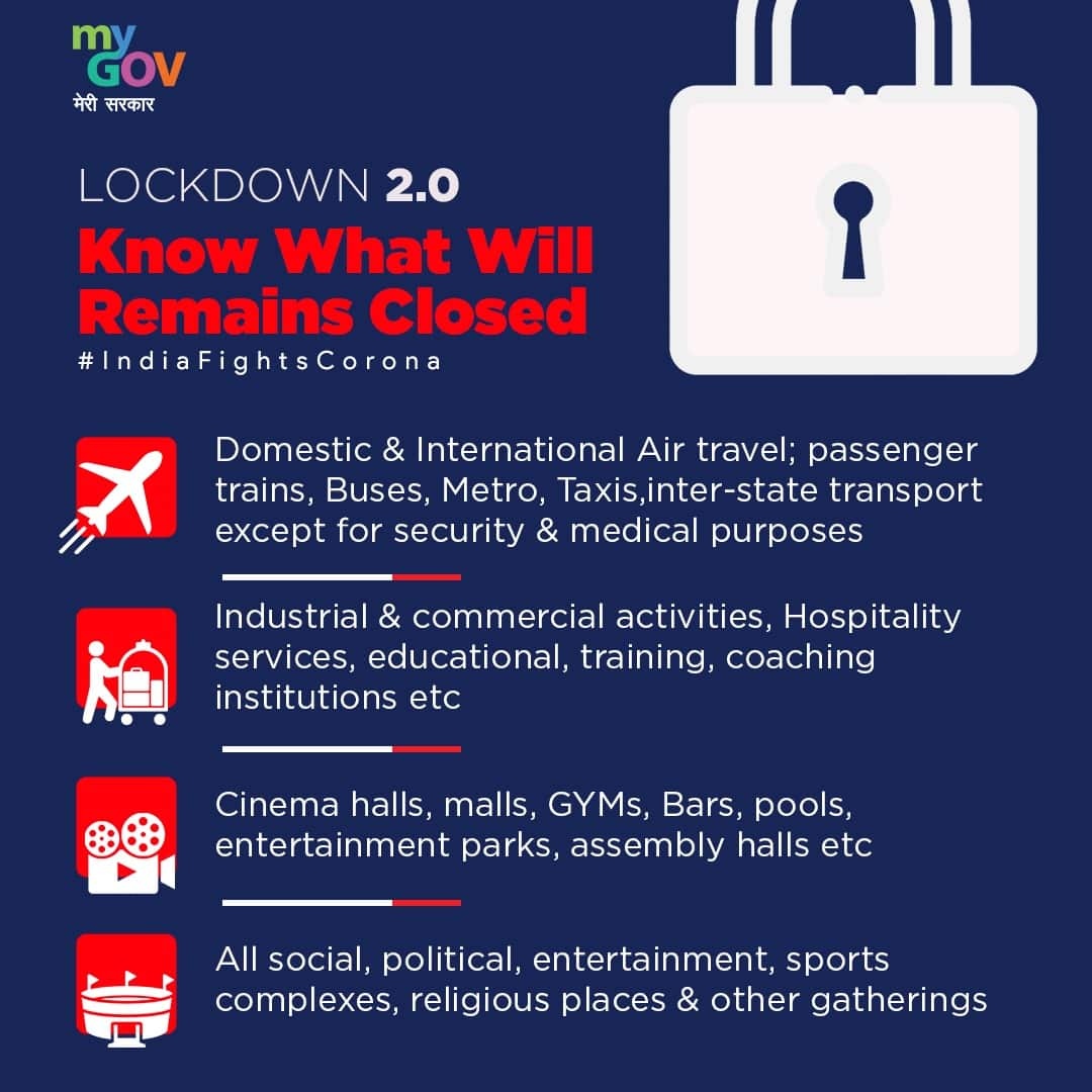 India lockdown 2.0 till May 3