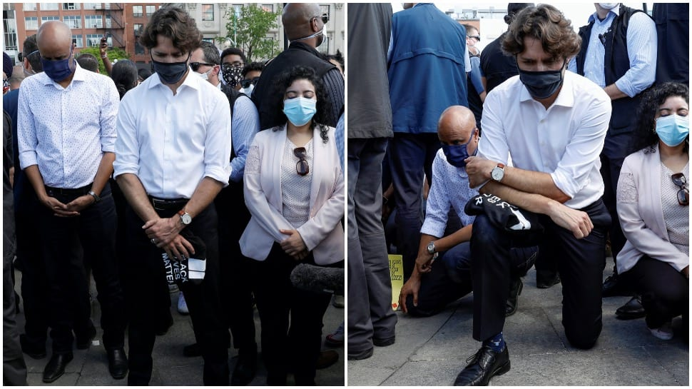 Canadian PM Justin Trudeau kneels along with protesters demanding justice for George Floyd