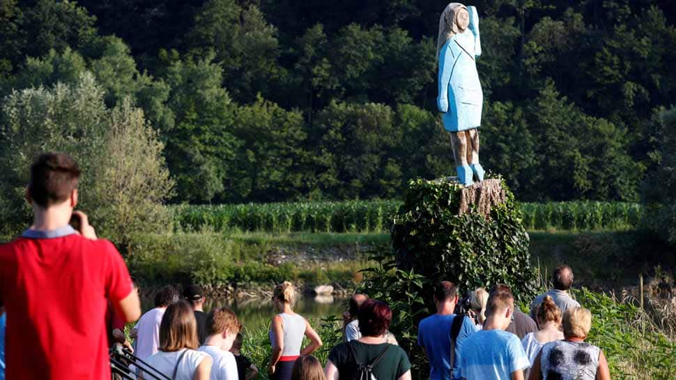 US first lady Melania Trump statue near her hometown in Slovenia set on fire