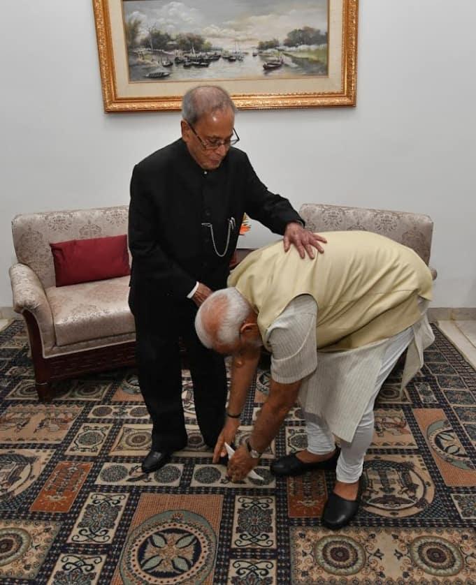 Prime Minister Narendra Modi with former President Pranab Mukherjee (2)