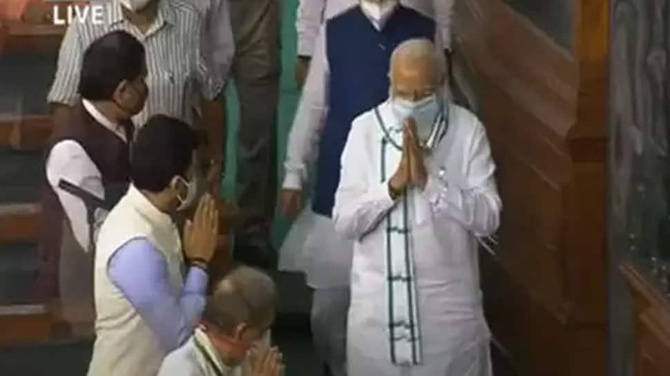 MPs shout 'Bharat Mata Ki Jai' slogans as PM Narendra Modi arrives to attend last day of Parliament's Monsoon Session