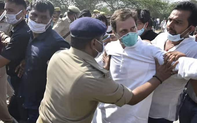 Rahul Gandhi pushed on ground, allegedly assaulted by cops and detained en route to Hathras