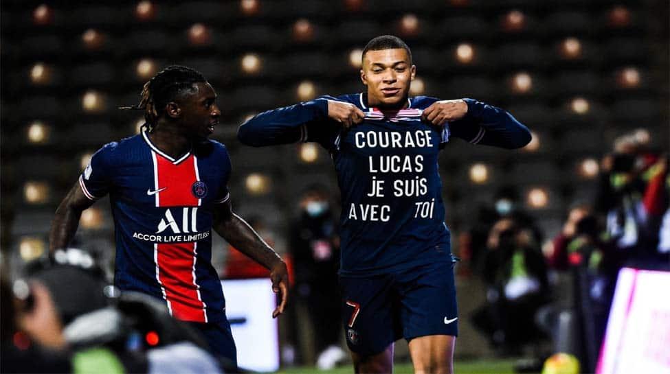 Kylian Mbappe strikes twice as PSG beat 10-man Nimes to top Ligue 1