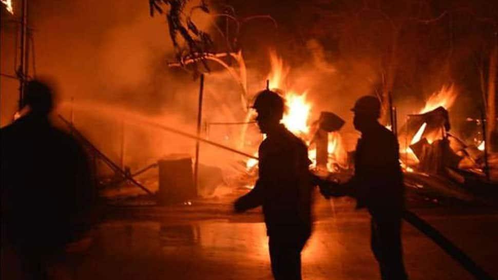 Massive fire breaks out in Noida slums near Bhangel Market, no casualties reported