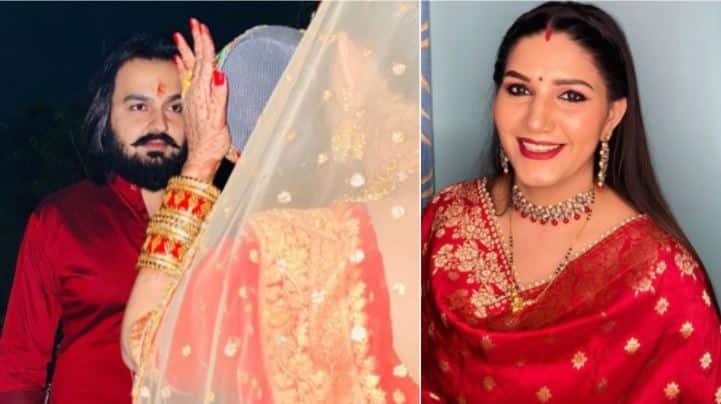 On Karwa Chauth, Sapna Choudhary shares first pics with husband Veer Sahu - Check out!